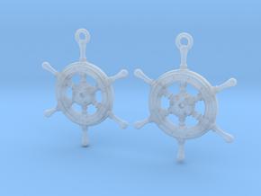 Ship wheel earrings in Smooth Fine Detail Plastic