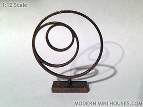 3 Circle Metal Art 1:12 scale modern art sculpture in Polished Bronzed Silver Steel