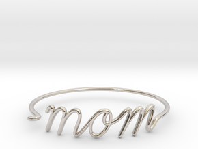 Mom Wire Bracelet in Rhodium Plated Brass