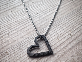 Geometric hollow heart pendant in Matte Black Steel