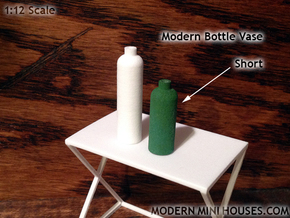 Bottle Vase Short in White Processed Versatile Plastic