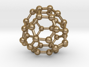 0098 Fullerene c38-17 c2 in Polished Gold Steel