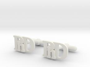PhD Cufflinks in White Natural Versatile Plastic