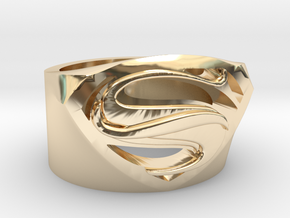 Superman Ring - Man Of Steel Ring US12 in 14K Yellow Gold