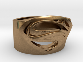 Superman Ring - Man Of Steel Ring US12 in Natural Brass
