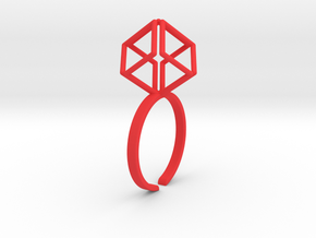 Dynamic Diamond Cube in Red Processed Versatile Plastic
