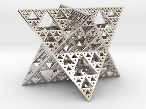 Sierpinski Octostar 3.75cm in Rhodium Plated Brass