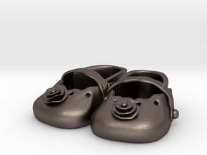 Baby Shower Decorations - Baby Shoes  in Polished Bronzed Silver Steel