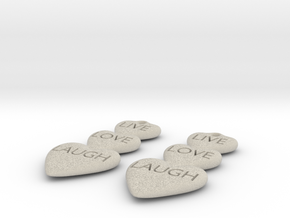 Live Love Laugh Hearts Earrings in Natural Sandstone