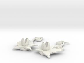 Flower Earrings in White Natural Versatile Plastic