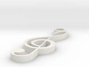 Treble Clef Pendant in White Natural Versatile Plastic