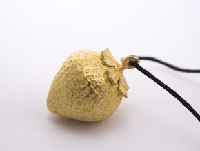 Strawberry Pendent in Polished Gold Steel