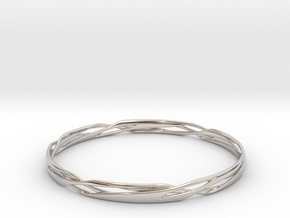 Stripes Bangle in Rhodium Plated Brass