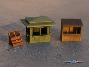 N Scale (1:160) Newsstands and Shoe Shine Stand in Smooth Fine Detail Plastic