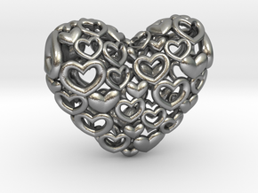 Heart by Heart 35mm Pendant. in Natural Silver