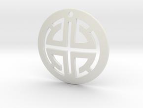 Abstract Men's Pendant in White Natural Versatile Plastic
