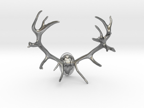 Red Deer Antler Mount - 50mm in Natural Silver