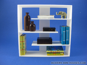 Efficient 1:12 scale Bookshelf in White Processed Versatile Plastic
