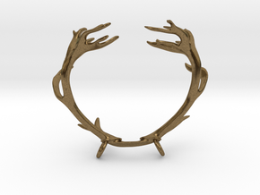 Red Deer Antler Necklace With Loops in Natural Bronze