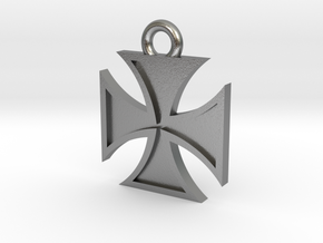 Iron Cross Pendant 2 in Natural Silver