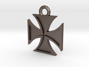 Iron Cross Pendant 2 in Polished Bronzed Silver Steel