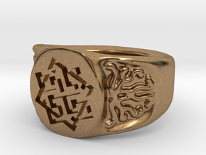 Slavic Swastika Charm Ring in Natural Brass