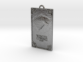 Game of Thrones - Stark Pendant in Fine Detail Polished Silver