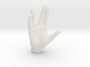 Faceted Spock Hand Keychain - Vulcan salute in White Natural Versatile Plastic