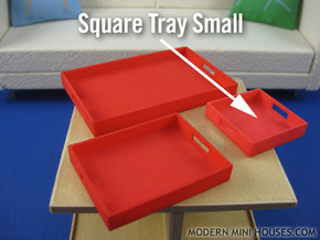 Square Tray Small 1:12 scale in White Strong & Flexible Polished