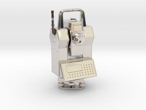 "Geodimeter 600 robot key fob 1.5"" in Rhodium Plated Brass"