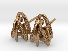 Duality - Stud Earrings in Polished Brass
