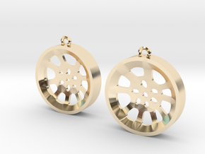 "Double Seconds ""void"" steelpan earrings, M in 14K Yellow Gold"