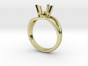 Solitaire Engagement Ring w/Split Band in 18k Gold Plated Brass