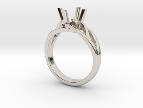 Solitaire Engagement Ring w/Branched Band in Rhodium Plated Brass