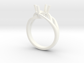 Solitaire Engagement Ring w/Branched Band in White Processed Versatile Plastic