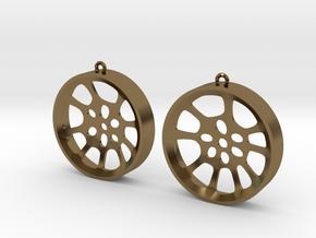 "Double Seconds ""void"" steelpan earrings, L in Polished Bronze"