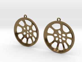"""Double Seconds """"essence"""" steelpan earrings, L in Polished Bronze"""