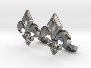 Designer Cufflink in Fine Detail Polished Silver