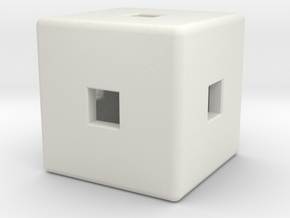 Material Sample (Hollow,) Cube, 10mm in White Natural Versatile Plastic