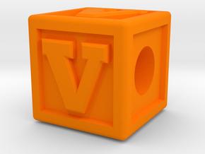 """Name Pieces; Letter """"V"""" in Orange Processed Versatile Plastic"""