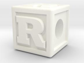 "Name Pieces; Letter ""R"" in White Processed Versatile Plastic"