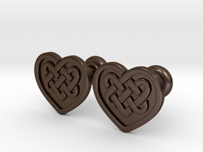 Heart Cufflinks in Polished Bronze Steel