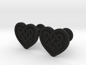Heart Cufflinks in Black Natural Versatile Plastic