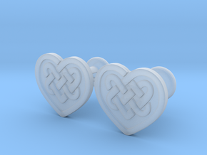 Heart Cufflinks in Smoothest Fine Detail Plastic