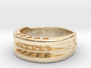 US17 Ring XI: Tritium, Five Holes in 14k Gold Plated Brass