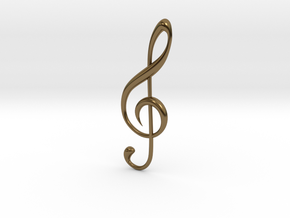 Classic Treble Clef Pendant in Polished Bronze
