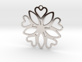 Heart Pendant - Floral  in Rhodium Plated Brass