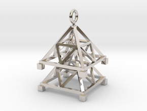 Tetrahedron Jhumka - Indian Bell earrings in Rhodium Plated Brass
