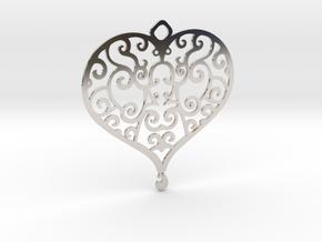 Heart Pendant in Rhodium Plated Brass