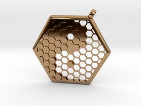Honeycomb Yin Yang Pendant in Polished Brass